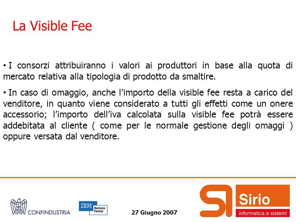 27 Giugno 2007 La Visible Fee I consorzi attribuiranno i valori ai produttori in base alla quota di mercato relativa alla tipologia di prodotto da smaltire.