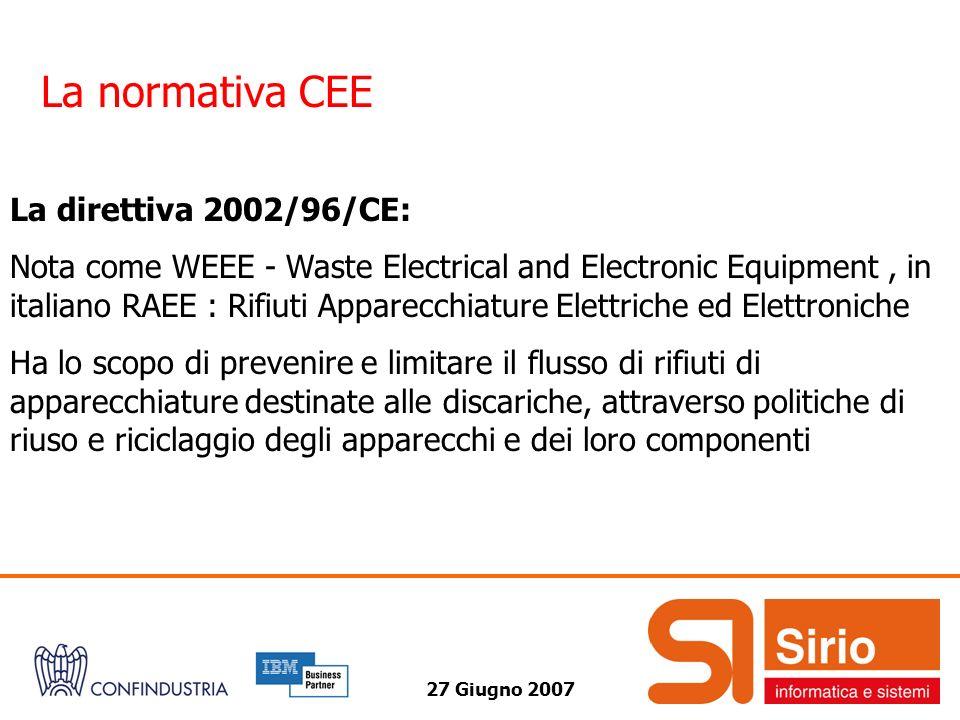 27 Giugno 2007 La normativa CEE La direttiva 2002/96/CE: Nota come WEEE - Waste Electrical and Electronic Equipment, in italiano RAEE : Rifiuti Appare