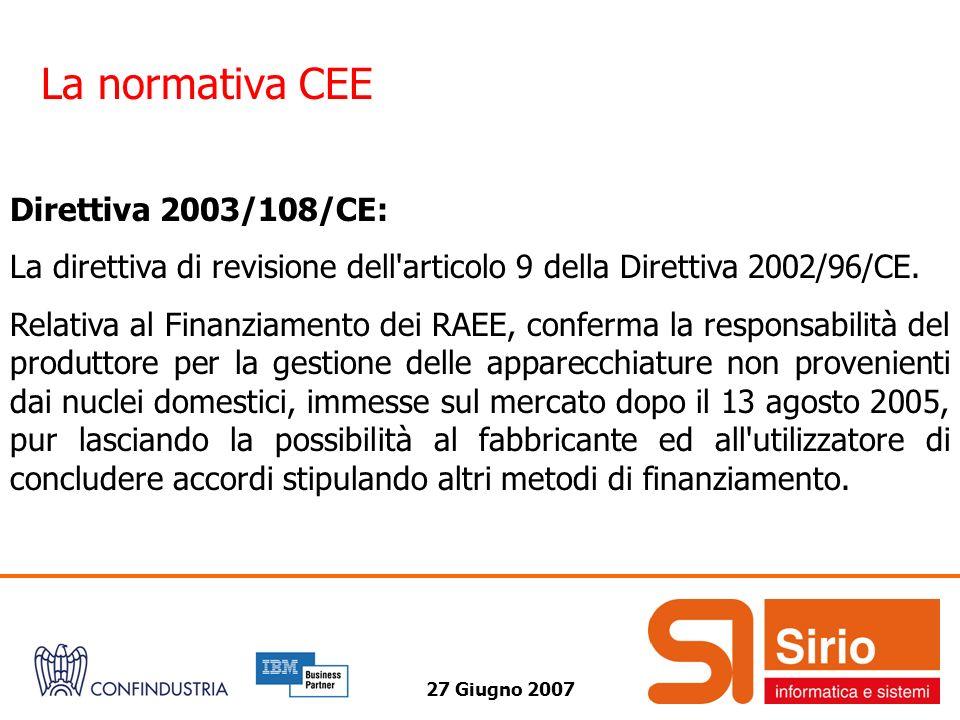27 Giugno 2007 La normativa CEE Direttiva 2003/108/CE: La direttiva di revisione dell'articolo 9 della Direttiva 2002/96/CE. Relativa al Finanziamento