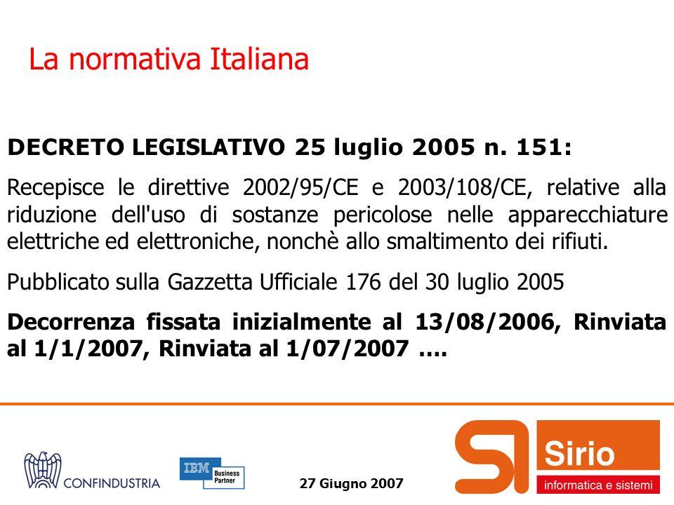 27 Giugno 2007 La normativa Italiana DECRETO LEGISLATIVO 25 luglio 2005 n. 151: Recepisce le direttive 2002/95/CE e 2003/108/CE, relative alla riduzio