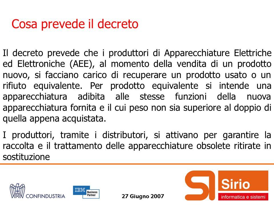 27 Giugno 2007 Cosa prevede il decreto Il decreto prevede che i produttori di Apparecchiature Elettriche ed Elettroniche (AEE), al momento della vendi