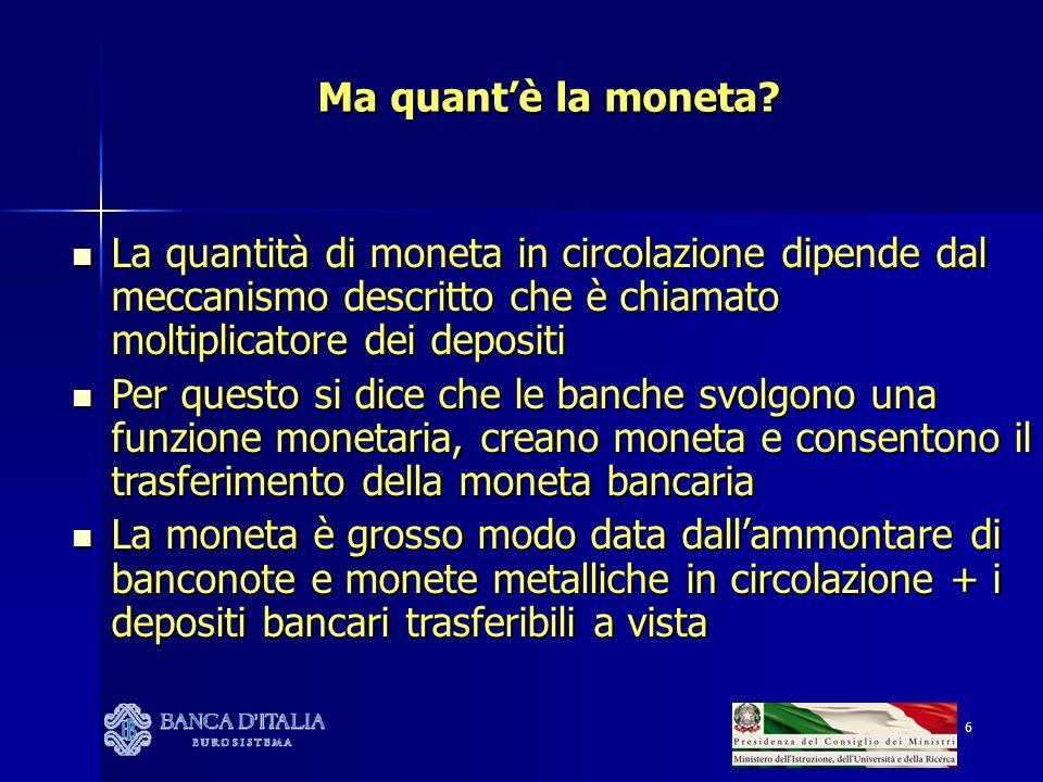 7 E la forma di deposito che consente di utilizzare la moneta bancaria di norma, gli strumenti di pagamento diversi dal contante richiedono la sua accensione IL CONTO CORRENTE