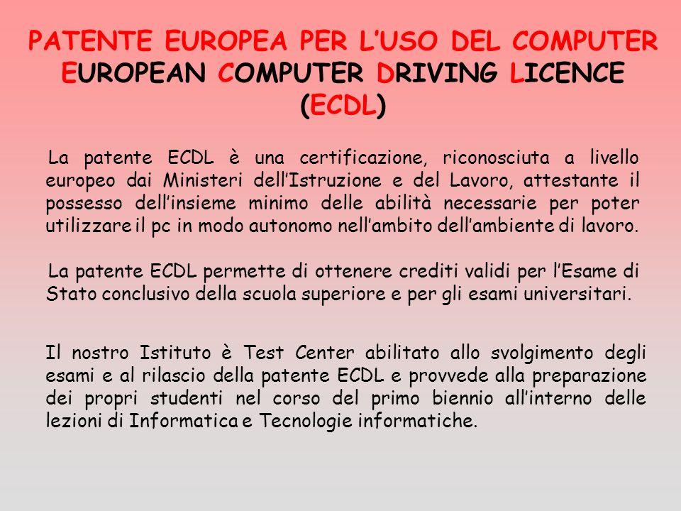 La patente ECDL è una certificazione, riconosciuta a livello europeo dai Ministeri dellIstruzione e del Lavoro, attestante il possesso dellinsieme minimo delle abilità necessarie per poter utilizzare il pc in modo autonomo nellambito dellambiente di lavoro.