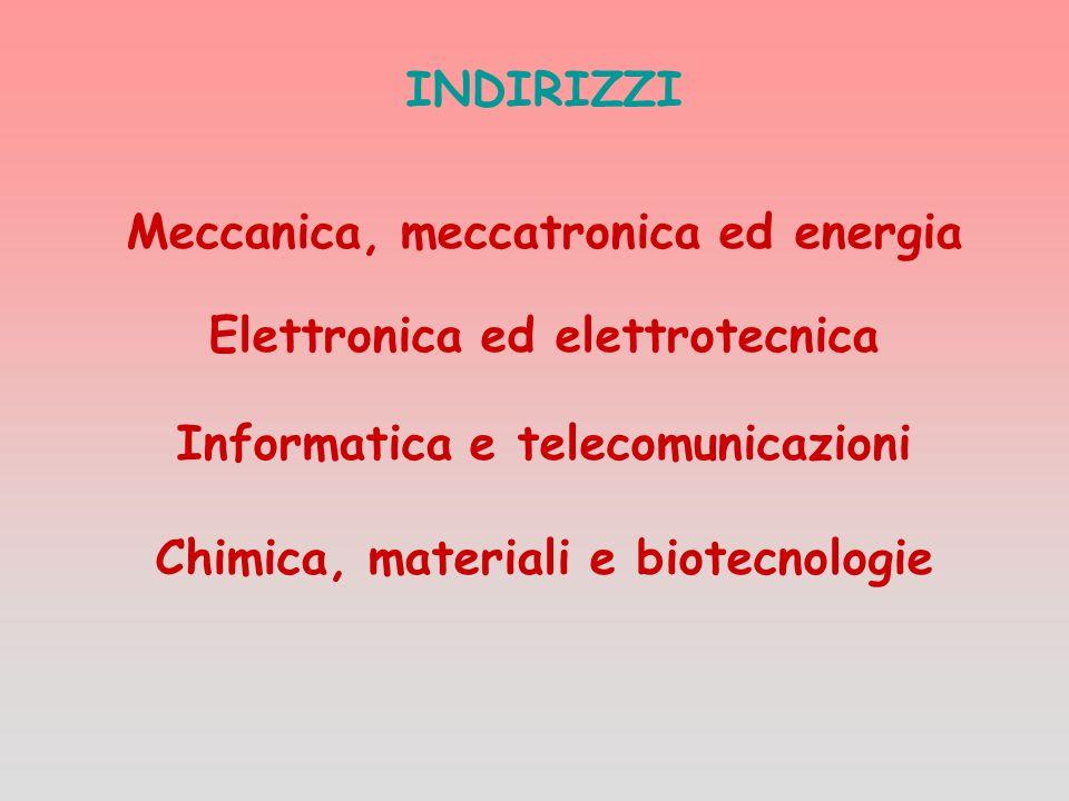 INDIRIZZI Meccanica, meccatronica ed energia Elettronica ed elettrotecnica Informatica e telecomunicazioni Chimica, materiali e biotecnologie