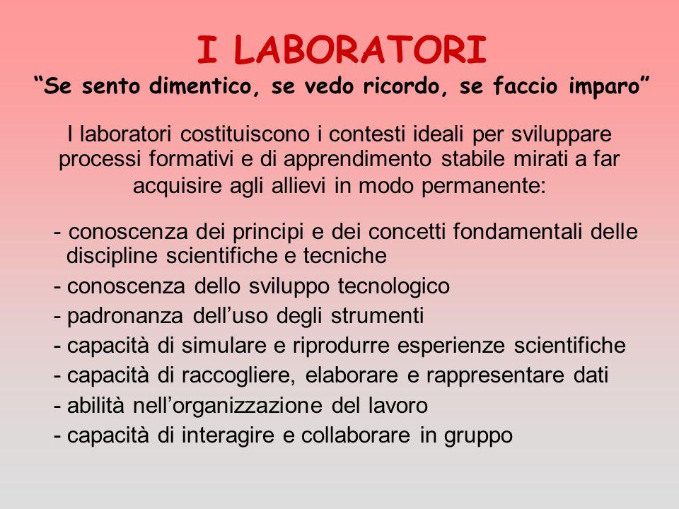 I LABORATORI Se sento dimentico, se vedo ricordo, se faccio imparo I laboratori costituiscono i contesti ideali per sviluppare processi formativi e di