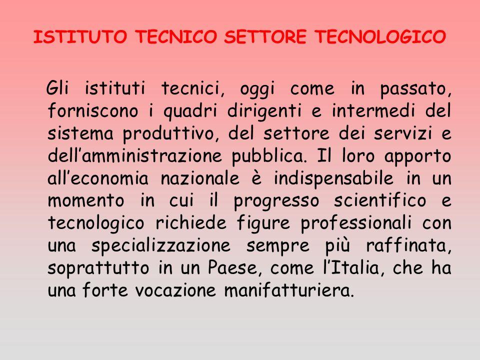 Gli istituti tecnici, oggi come in passato, forniscono i quadri dirigenti e intermedi del sistema produttivo, del settore dei servizi e dellamministra