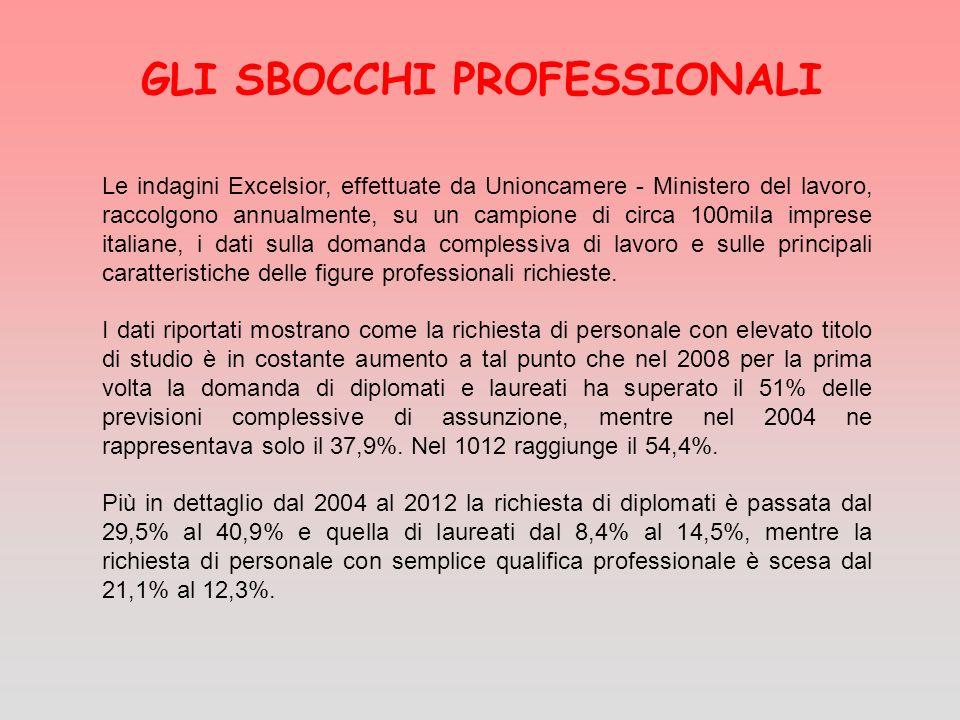 GLI SBOCCHI PROFESSIONALI Le indagini Excelsior, effettuate da Unioncamere - Ministero del lavoro, raccolgono annualmente, su un campione di circa 100