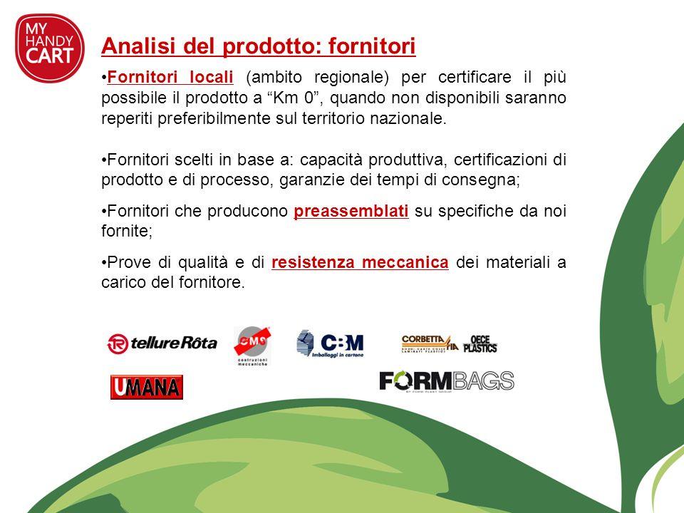 Analisi del prodotto: fornitori Fornitori locali (ambito regionale) per certificare il più possibile il prodotto a Km 0, quando non disponibili sarann