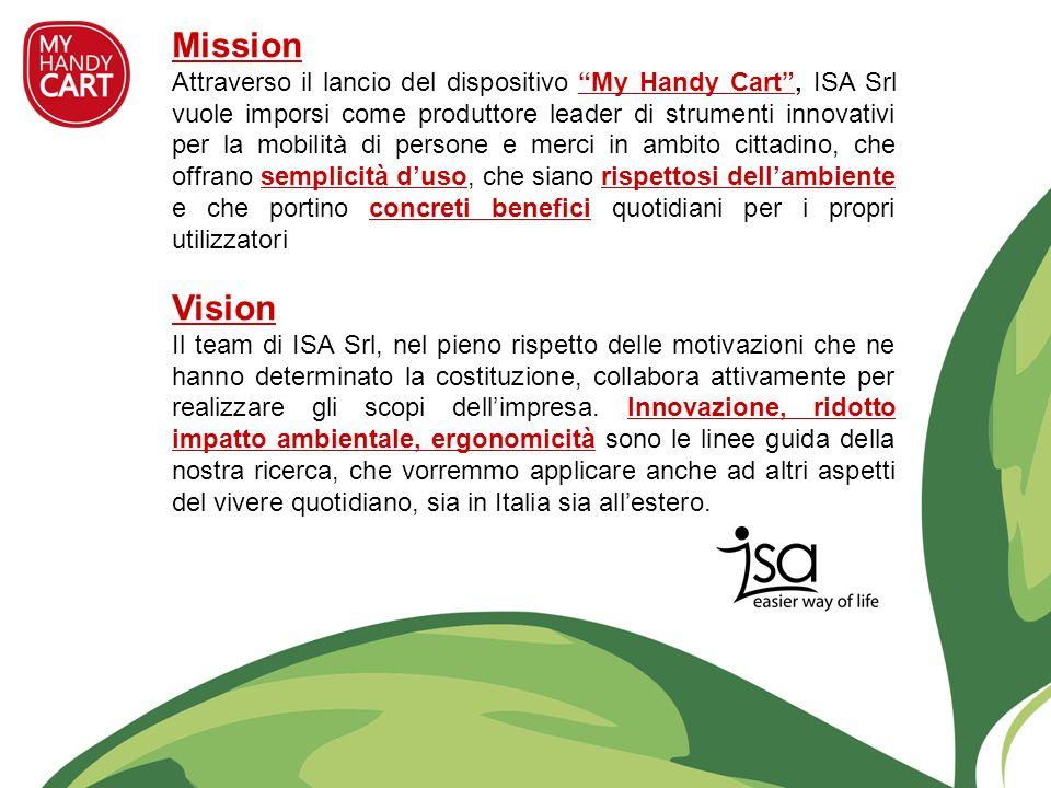 Mission Attraverso il lancio del dispositivo My Handy Cart, ISA Srl vuole imporsi come produttore leader di strumenti innovativi per la mobilità di pe