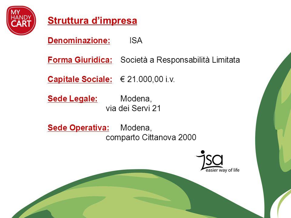 Struttura dimpresa Denominazione: ISA Forma Giuridica: Società a Responsabilità Limitata Capitale Sociale: 21.000,00 i.v. Sede Legale: Modena, via dei