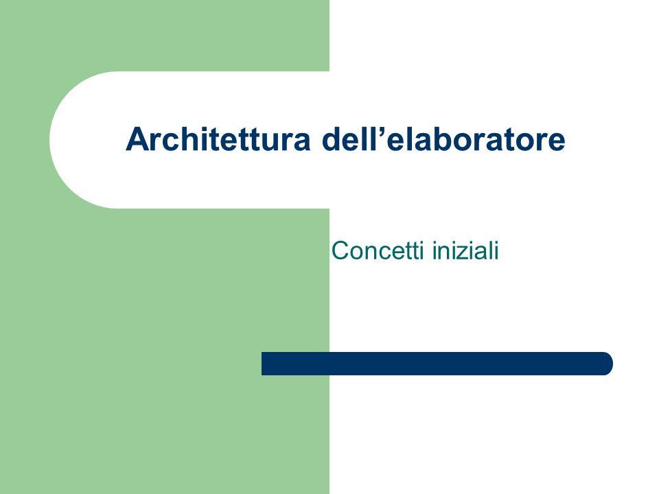 Architettura dellelaboratore Concetti iniziali