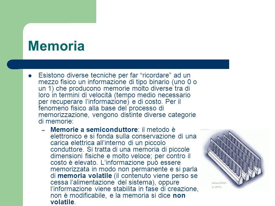 Memoria Esistono diverse tecniche per far ricordare ad un mezzo fisico un informazione di tipo binario (uno 0 o un 1) che producono memorie molto dive
