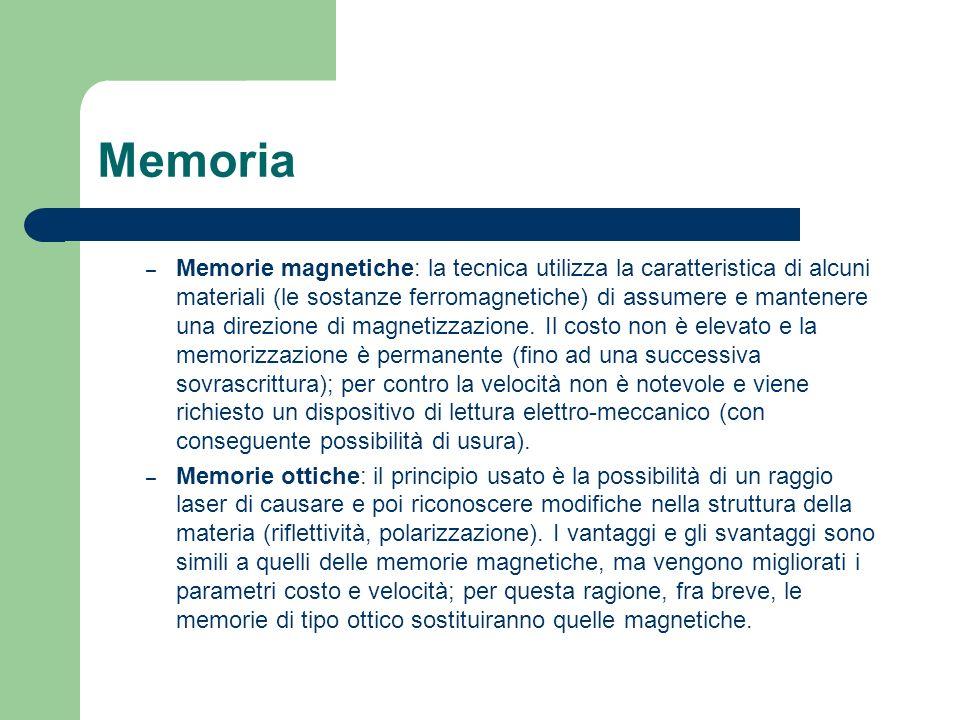 Memoria – Memorie magnetiche: la tecnica utilizza la caratteristica di alcuni materiali (le sostanze ferromagnetiche) di assumere e mantenere una dire