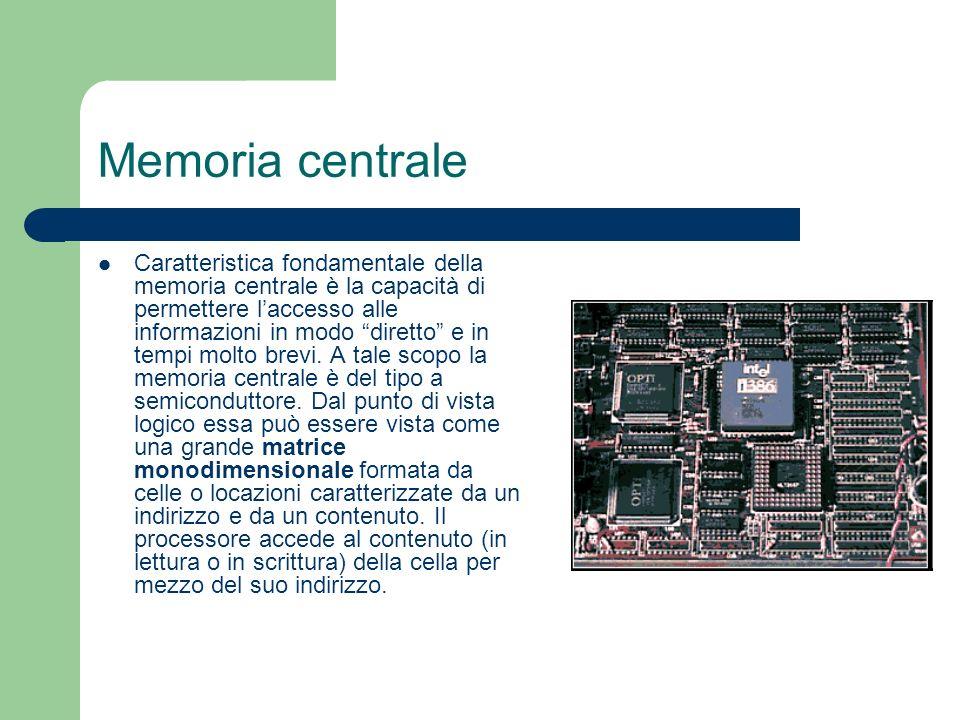 Memoria centrale Caratteristica fondamentale della memoria centrale è la capacità di permettere laccesso alle informazioni in modo diretto e in tempi