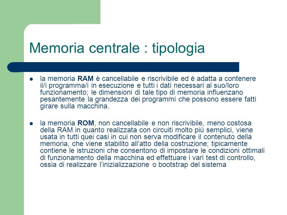Memoria centrale : tipologia la memoria RAM è cancellabile e riscrivibile ed è adatta a contenere il/i programma/i in esecuzione e tutti i dati necess