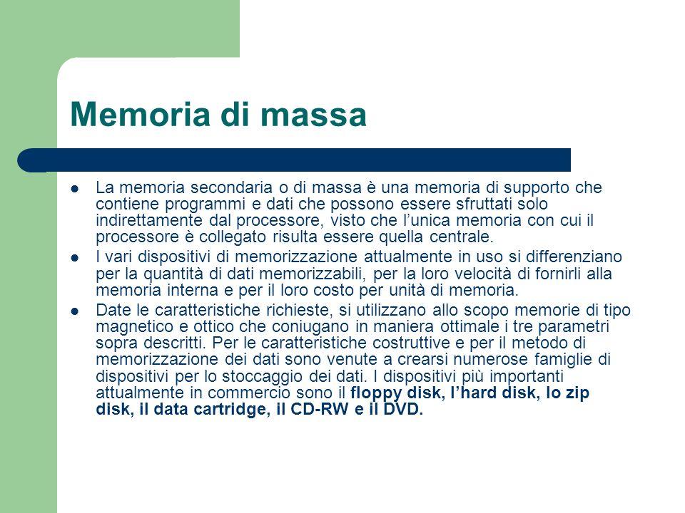 Memoria di massa La memoria secondaria o di massa è una memoria di supporto che contiene programmi e dati che possono essere sfruttati solo indirettam
