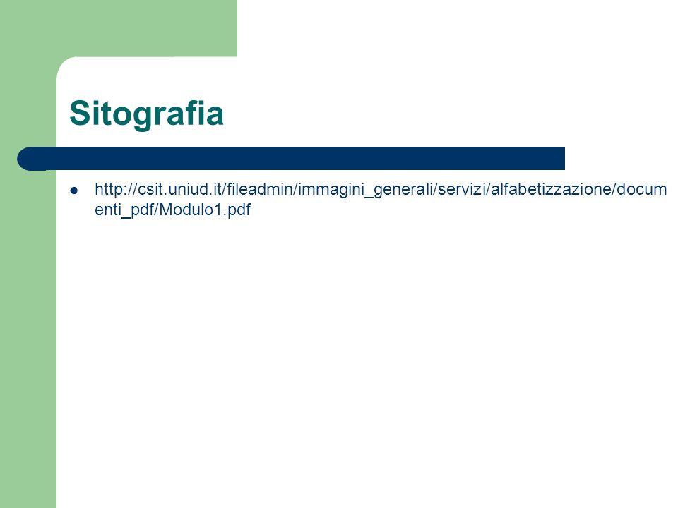Sitografia http://csit.uniud.it/fileadmin/immagini_generali/servizi/alfabetizzazione/docum enti_pdf/Modulo1.pdf