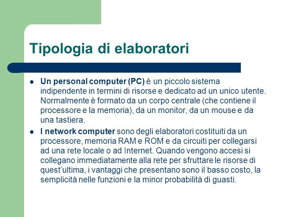 Tipologia di elaboratori Un personal computer (PC) è un piccolo sistema indipendente in termini di risorse e dedicato ad un unico utente. Normalmente