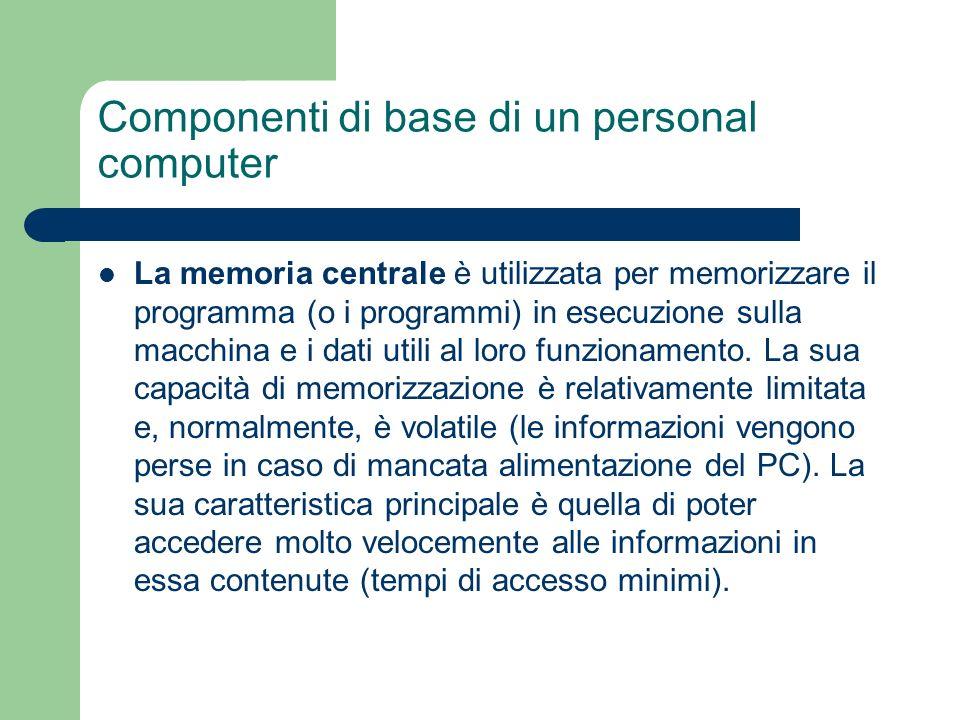Componenti di base di un personal computer La memoria centrale è utilizzata per memorizzare il programma (o i programmi) in esecuzione sulla macchina