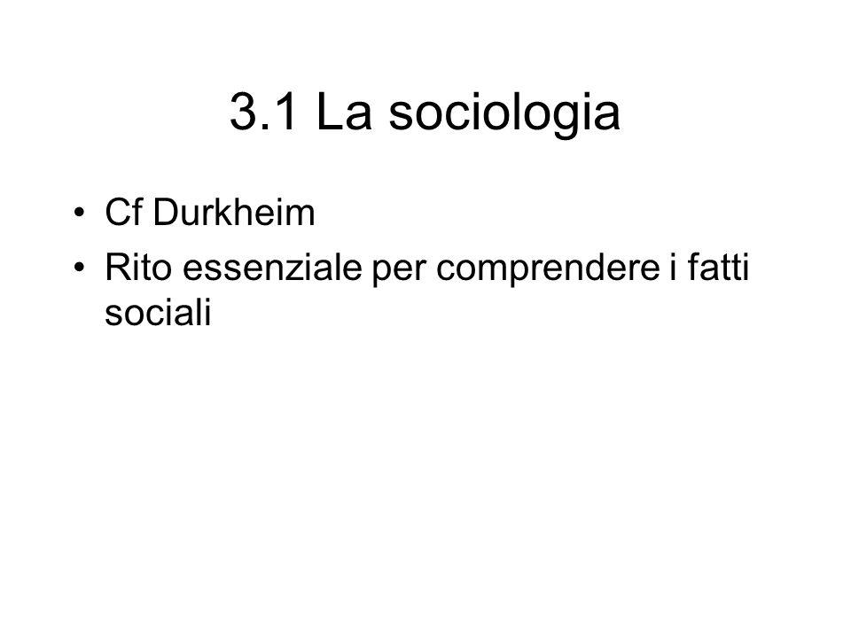 3.1 La sociologia Cf Durkheim Rito essenziale per comprendere i fatti sociali