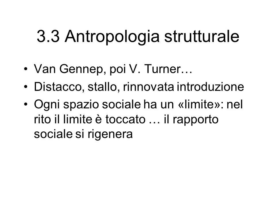 3.3 Antropologia strutturale Van Gennep, poi V. Turner… Distacco, stallo, rinnovata introduzione Ogni spazio sociale ha un «limite»: nel rito il limit