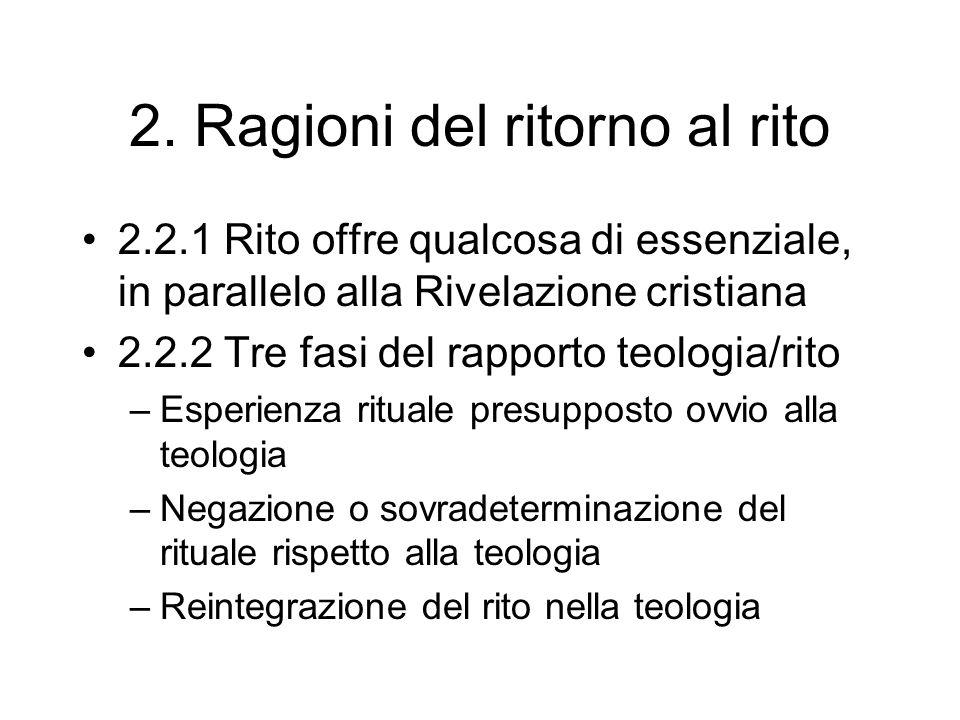 2. Ragioni del ritorno al rito 2.2.1 Rito offre qualcosa di essenziale, in parallelo alla Rivelazione cristiana 2.2.2 Tre fasi del rapporto teologia/r