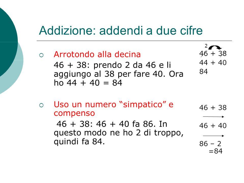 Addizione: addendi a due cifre Arrotondo alla decina 46 + 38: prendo 2 da 46 e li aggiungo al 38 per fare 40. Ora ho 44 + 40 = 84 Uso un numero simpat
