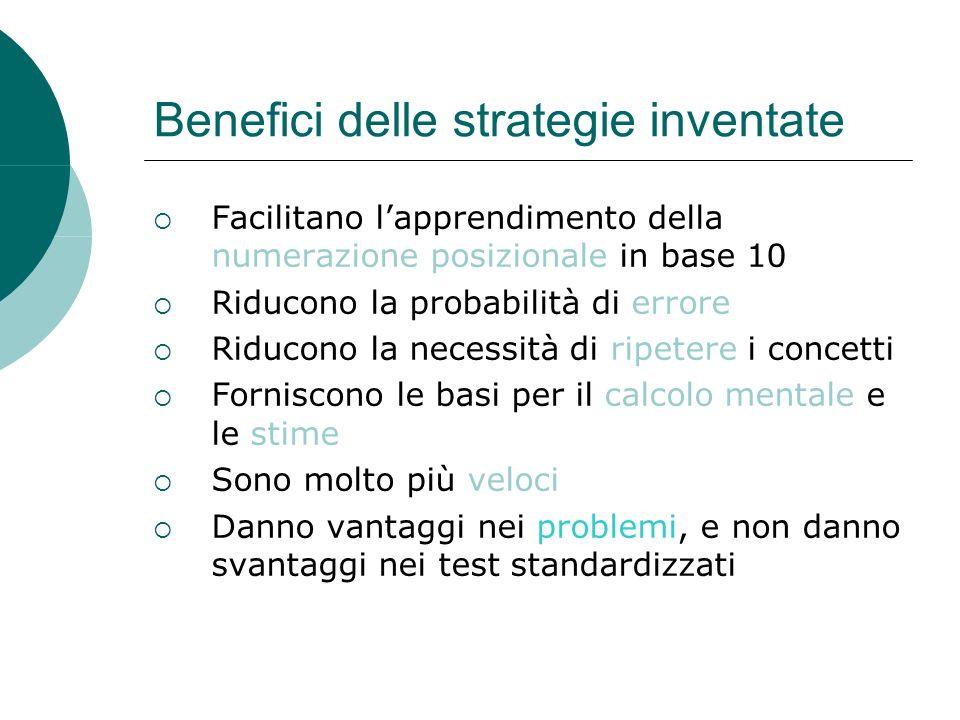 Benefici delle strategie inventate Facilitano lapprendimento della numerazione posizionale in base 10 Riducono la probabilità di errore Riducono la ne