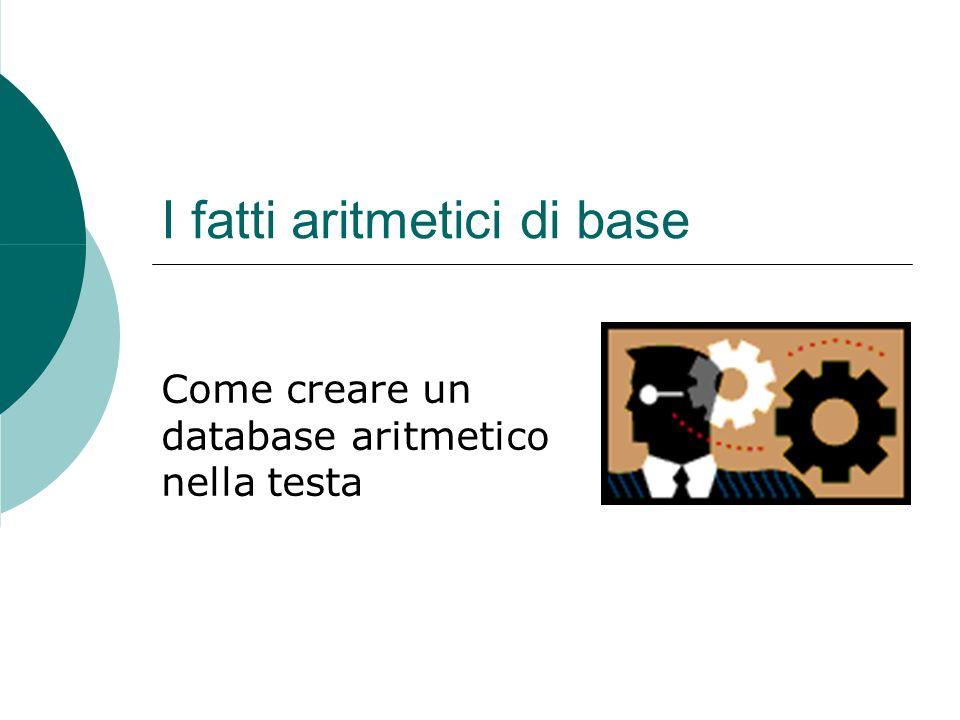 I fatti aritmetici di base Come creare un database aritmetico nella testa