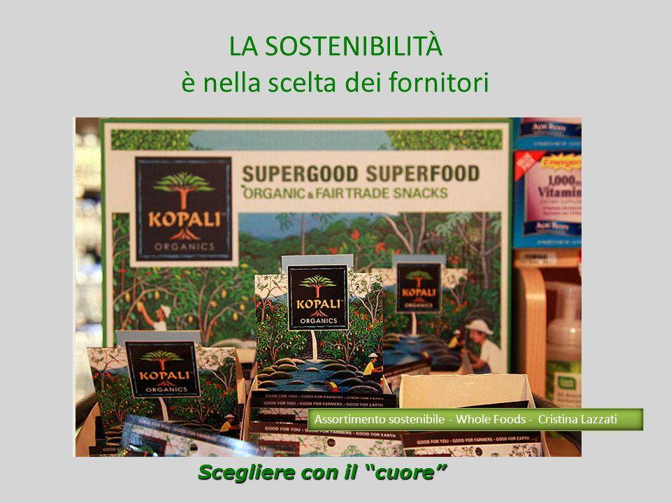 LA SOSTENIBILITÀ è nella scelta dei fornitori Scegliere con il cuore Assortimento sostenibile - Whole Foods - Cristina Lazzati