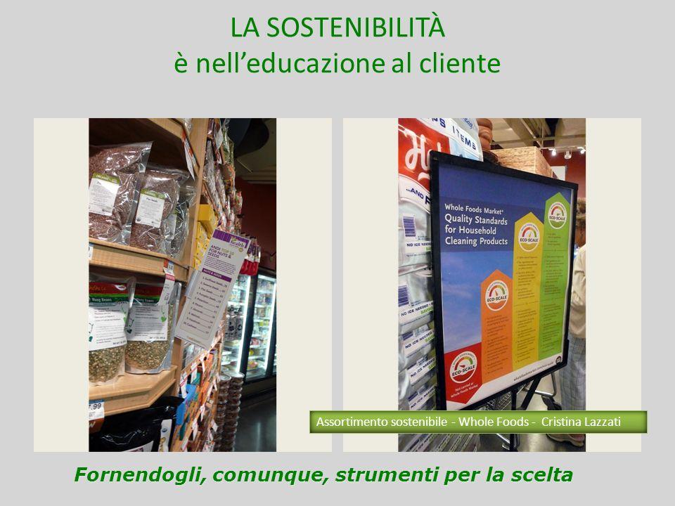 LA SOSTENIBILITÀ è nelleducazione al cliente Individualità Socialità Fornendogli, comunque, strumenti per la scelta Assortimento sostenibile - Whole F