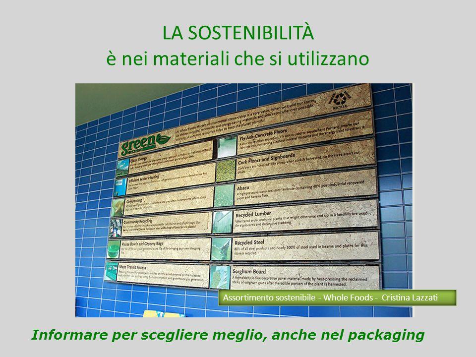 LA SOSTENIBILITÀ è nei materiali che si utilizzano Informare per scegliere meglio, anche nel packaging Assortimento sostenibile - Whole Foods - Cristi