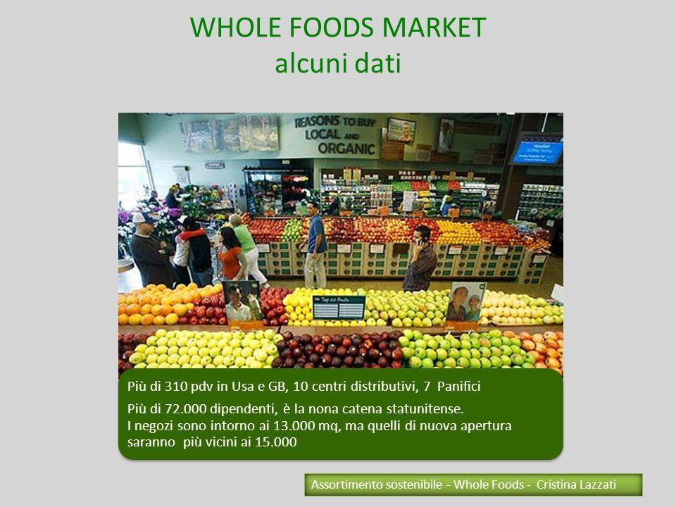WHOLE FOODS MARKET alcuni dati Più di 310 pdv in Usa e GB, 10 centri distributivi, 7 Panifici Più di 72.000 dipendenti, è la nona catena statunitense.
