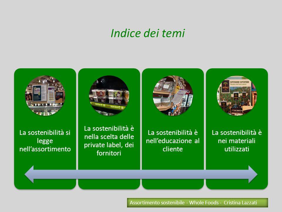 La sostenibilità si legge nellassortimento La sostenibilità è nella scelta delle private label, dei fornitori La sostenibilità è nelleducazione al cli