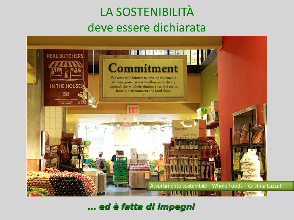 LA SOSTENIBILITÀ è nellassortimento GRUPPI DI ACQUISTO SOLIDALI MERCATI CONTADINI RELAZIONE DIRETTA CON IL NEGOZIANTE Lopportunità di fare scelte ragionate Assortimento sostenibile - Whole Foods - Cristina Lazzati
