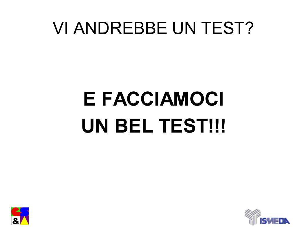 VI ANDREBBE UN TEST? E FACCIAMOCI UN BEL TEST!!!