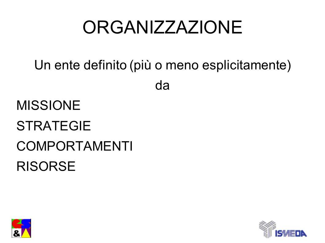 ORGANIZZAZIONE Un ente definito (più o meno esplicitamente) da MISSIONE STRATEGIE COMPORTAMENTI RISORSE