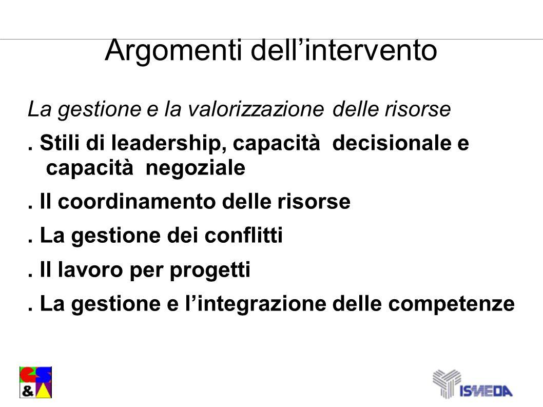 Argomenti dellintervento La gestione e la valorizzazione delle risorse. Stili di leadership, capacità decisionale e capacità negoziale. Il coordinamen