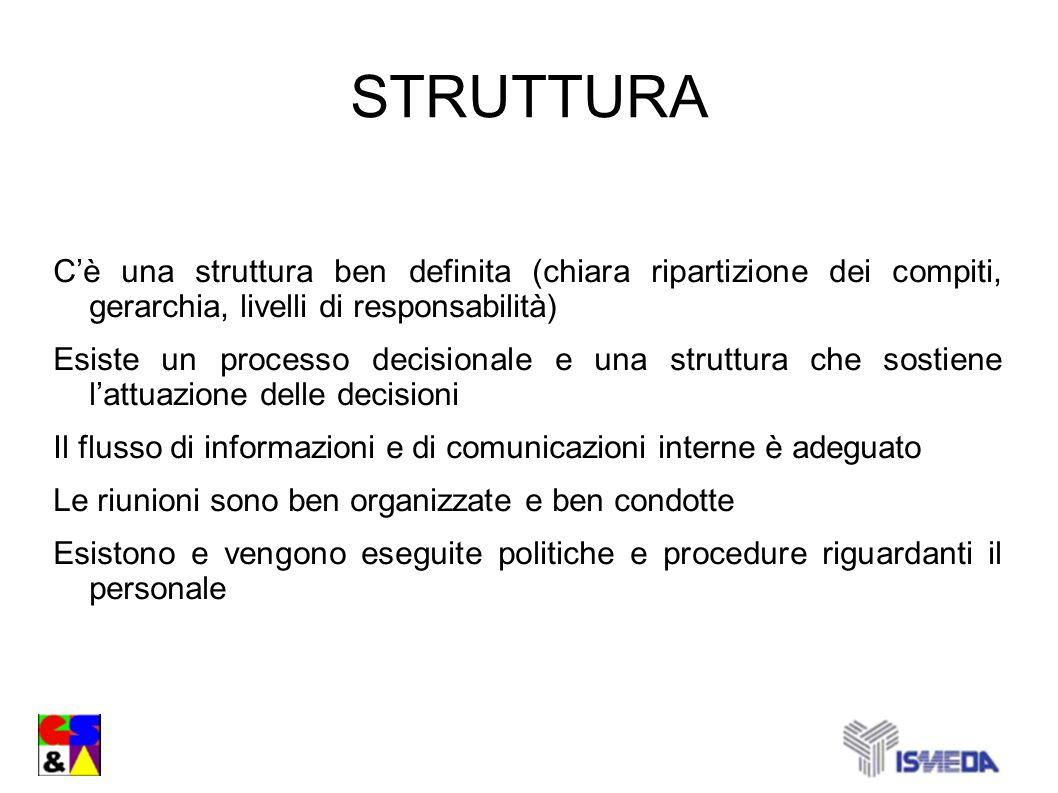 STRUTTURA Cè una struttura ben definita (chiara ripartizione dei compiti, gerarchia, livelli di responsabilità) Esiste un processo decisionale e una s