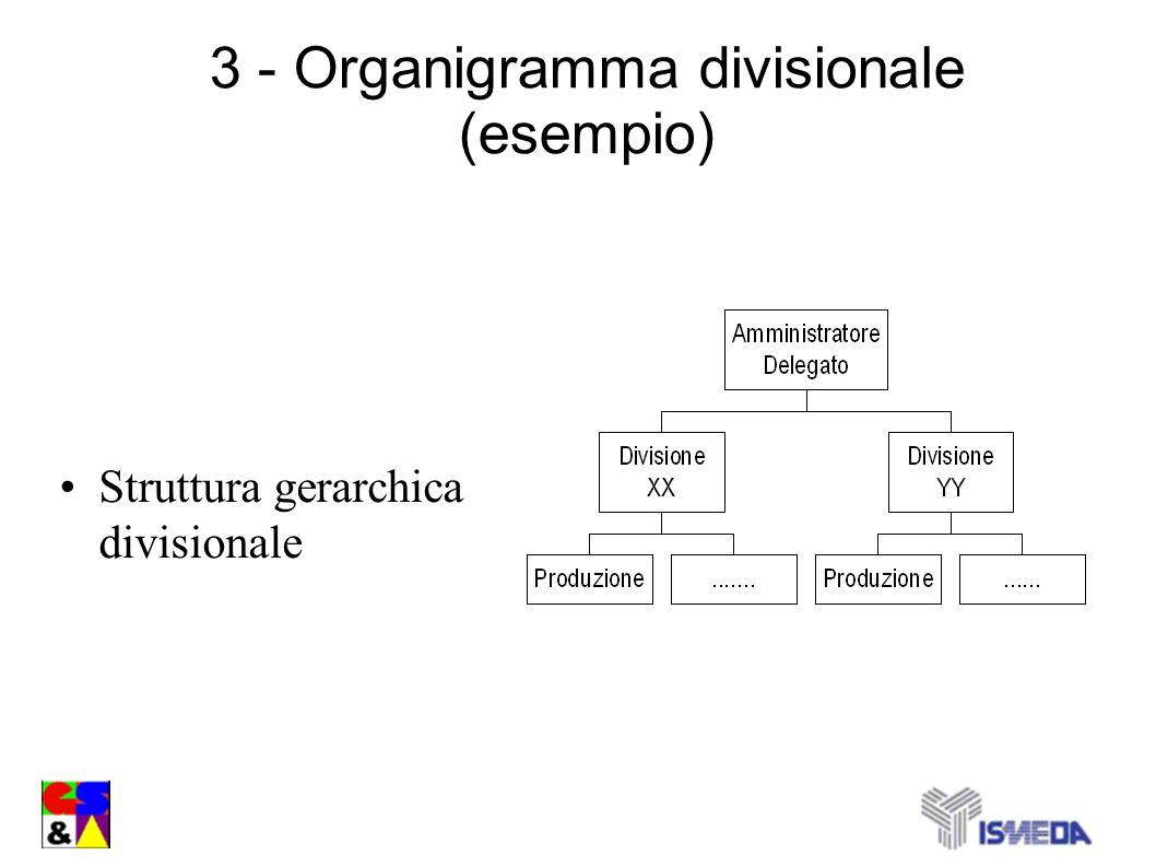3 - Organigramma divisionale (esempio) Struttura gerarchica divisionale