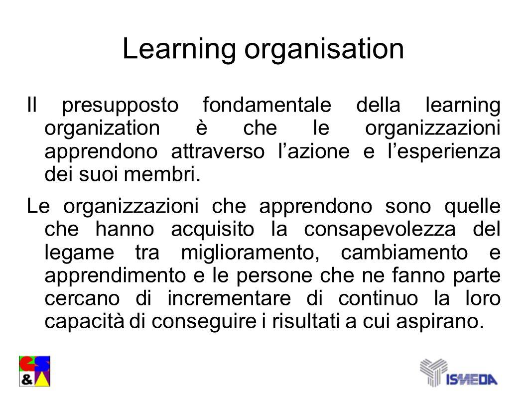 Learning organisation Il presupposto fondamentale della learning organization è che le organizzazioni apprendono attraverso lazione e lesperienza dei