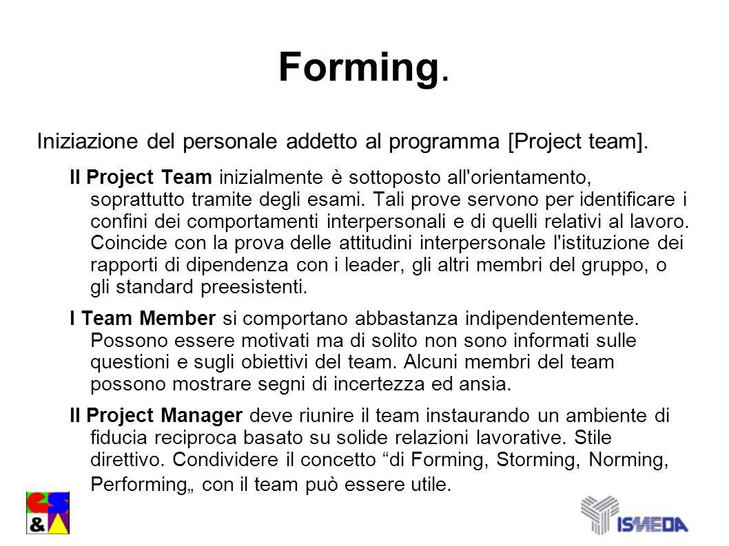 Forming. Iniziazione del personale addetto al programma [Project team]. Il Project Team inizialmente è sottoposto all'orientamento, soprattutto tramit