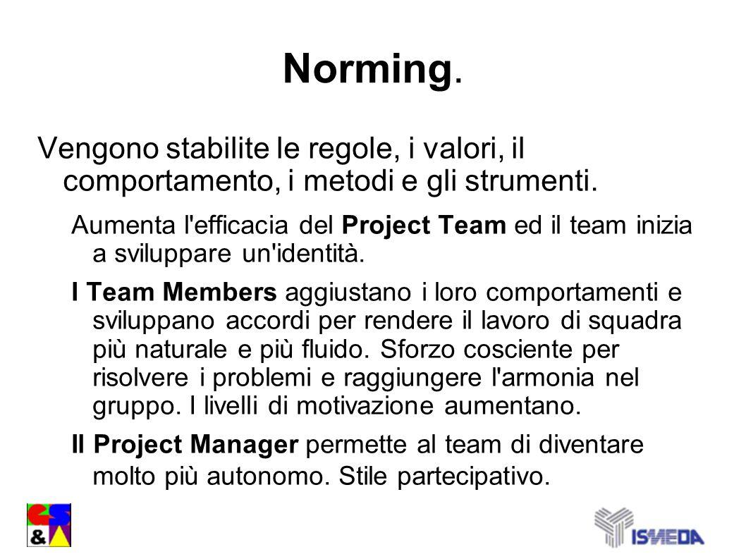 Norming. Vengono stabilite le regole, i valori, il comportamento, i metodi e gli strumenti. Aumenta l'efficacia del Project Team ed il team inizia a s