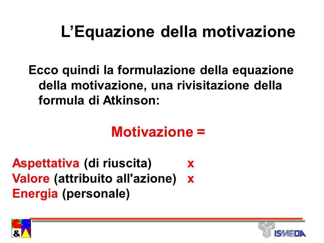 Ecco quindi la formulazione della equazione della motivazione, una rivisitazione della formula di Atkinson: Motivazione = Aspettativa (di riuscita) x