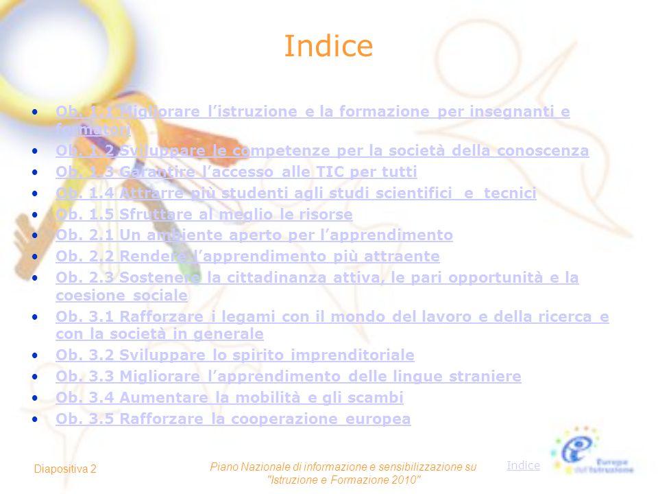 Indice Piano Nazionale di informazione e sensibilizzazione su