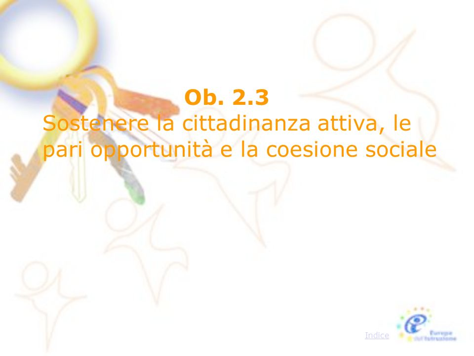 Ob. 2.3 Sostenere la cittadinanza attiva, le pari opportunità e la coesione sociale Indice