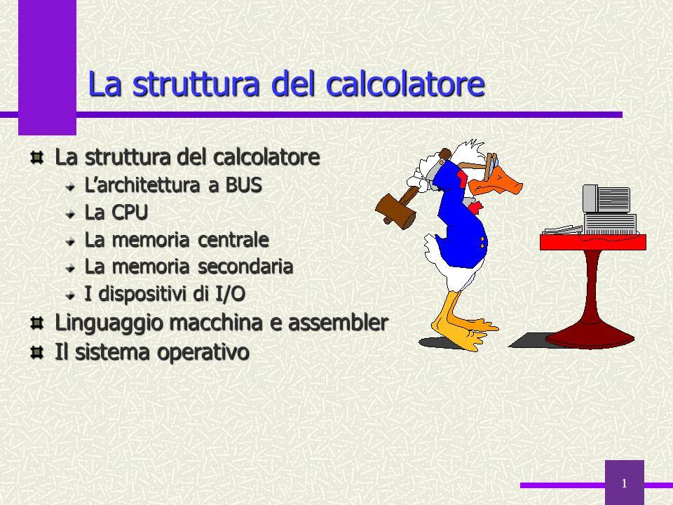 1 La struttura del calcolatore Larchitettura a BUS La CPU La memoria centrale La memoria secondaria I dispositivi di I/O Linguaggio macchina e assembl