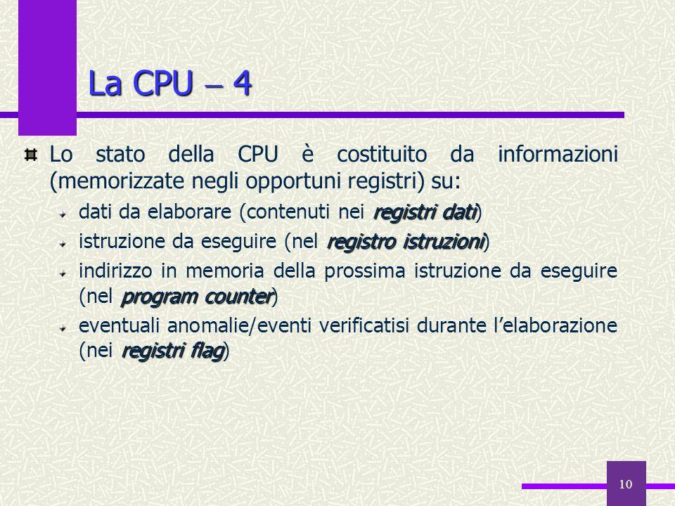10 La CPU 4 Lo stato della CPU è costituito da informazioni (memorizzate negli opportuni registri) su: registri dati dati da elaborare (contenuti nei
