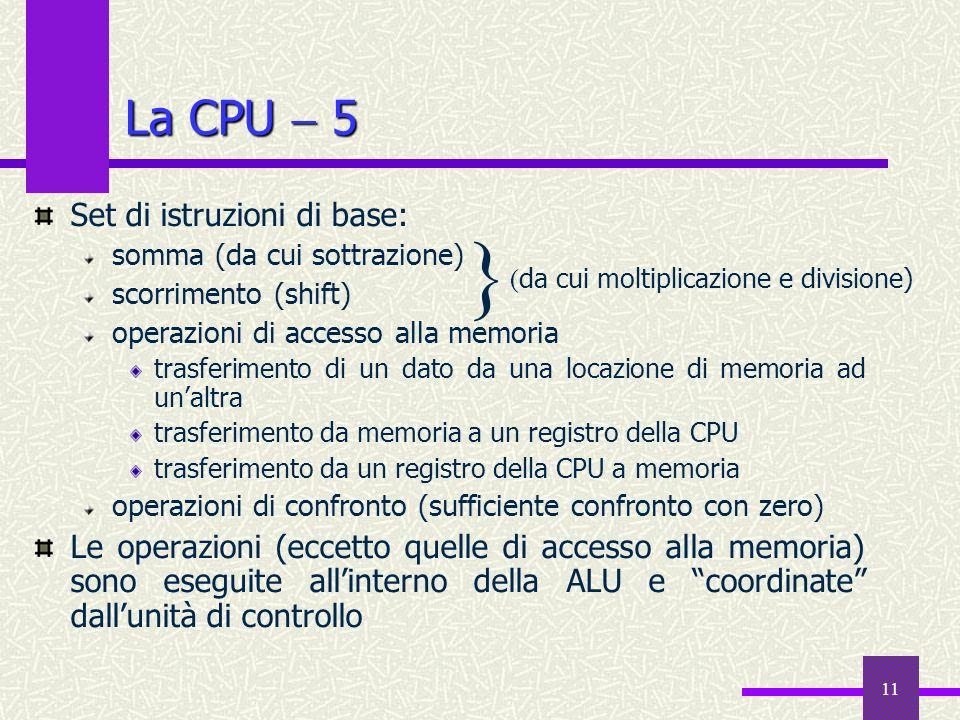 11 La CPU 5 Set di istruzioni di base: somma (da cui sottrazione) scorrimento (shift) operazioni di accesso alla memoria trasferimento di un dato da u