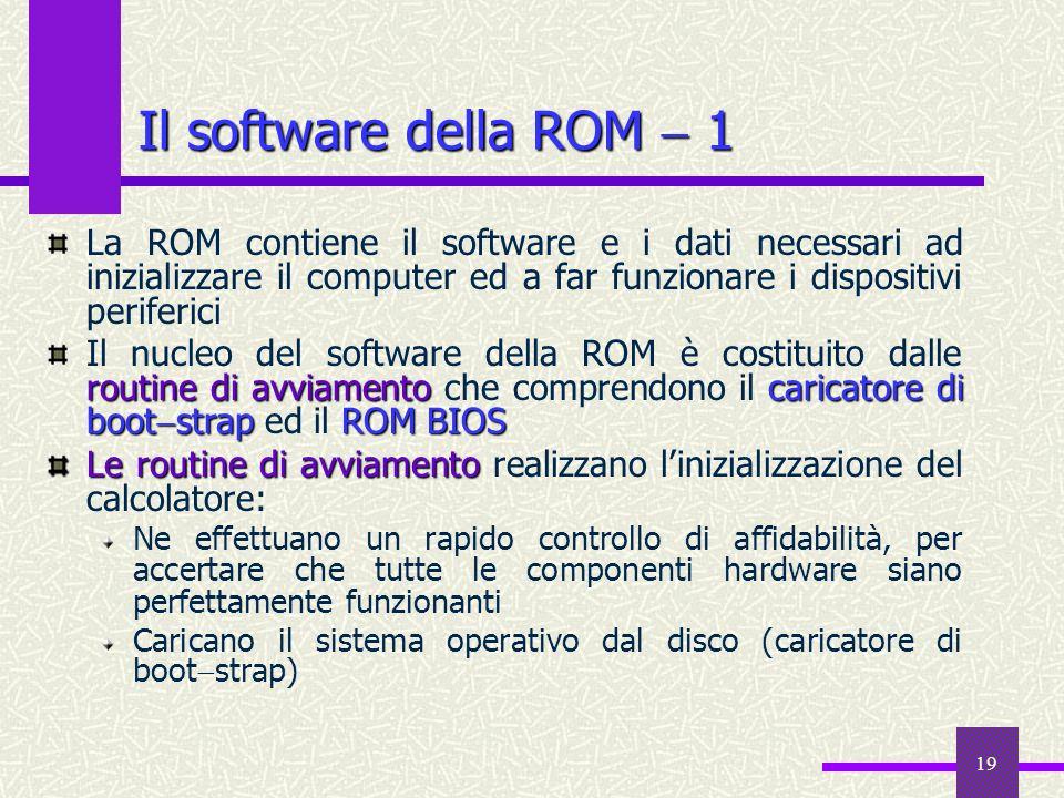 20 Il software della ROM 2 caricatore di boot strap bootstrap Il caricatore di boot strap ha la funzione di leggere un programma di lancio dal disco, detto bootstrap, e di trasferire ad esso il controllo: il boostrap carica il nucleo del sistema operativo e lo manda in esecuzione ROM BIOS Binary Input Output System Il ROM BIOS Binary Input Output System è la parte della ROM attiva quando il computer è al lavoro: il suo ruolo è quello di fornire un insieme di servizi di base richiesti per il funzionamento delle periferiche